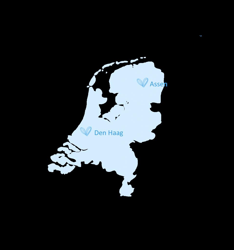 Kaart Nederland Assen & Den Haag